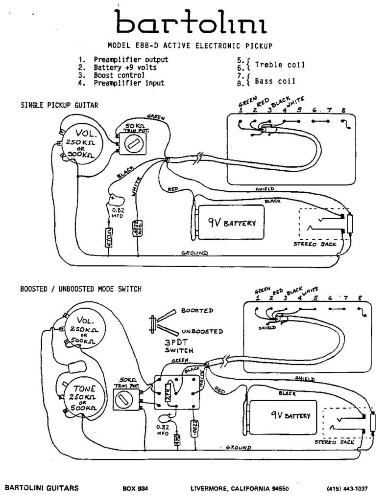 Bartolini Pickups Wiring Diagram Not Lossing Jackson Bass E88 D Active Humbucker Electronics Rh Net Pickup