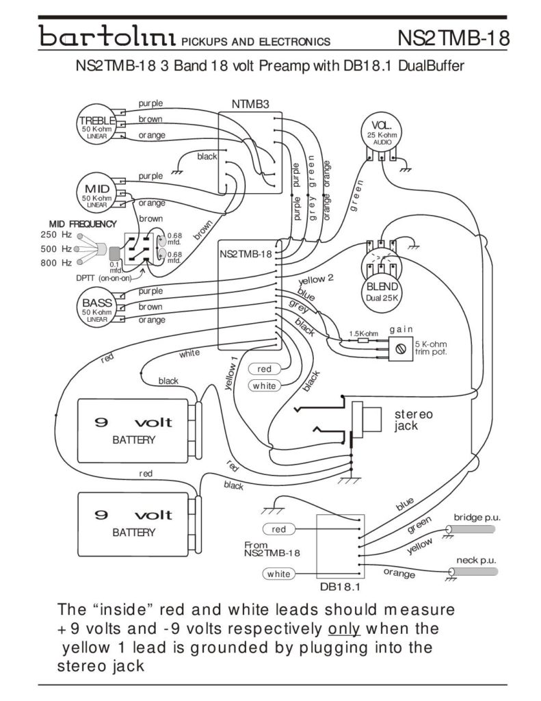 Wiring Diagrams - Bartolini Pickups & Electronics on