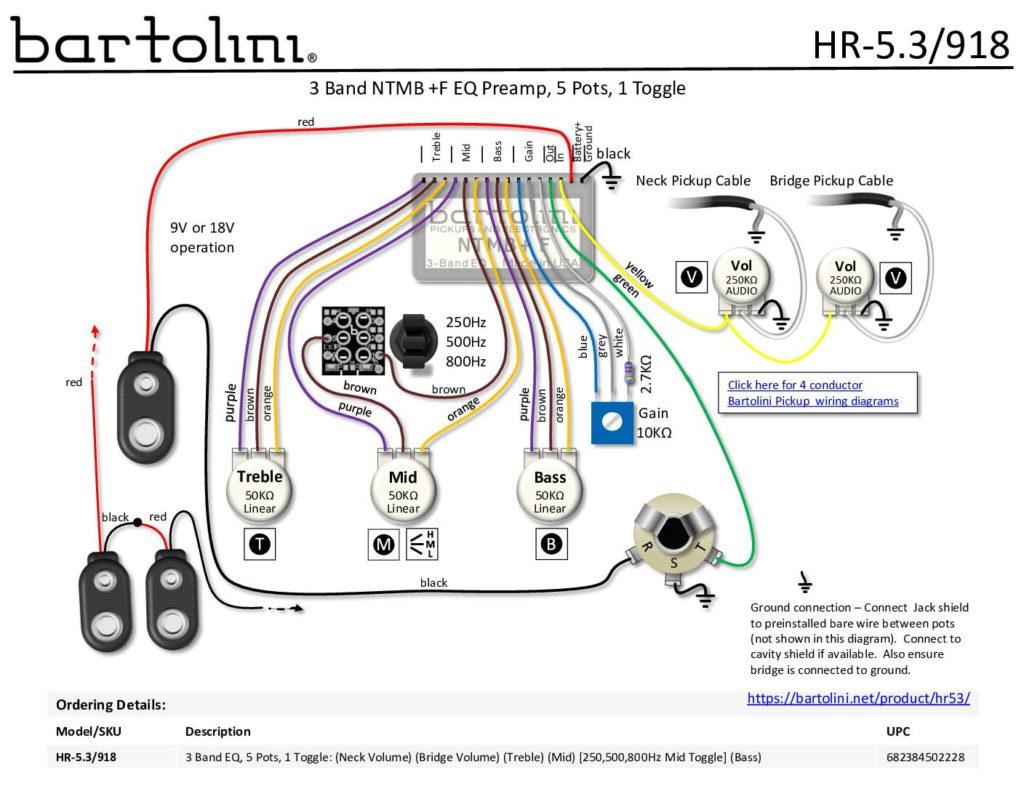 HR-5.3/918 Harness Wiring Diagram - Bartolini Pickups & ElectronicsBartolini Pickups & Electronics