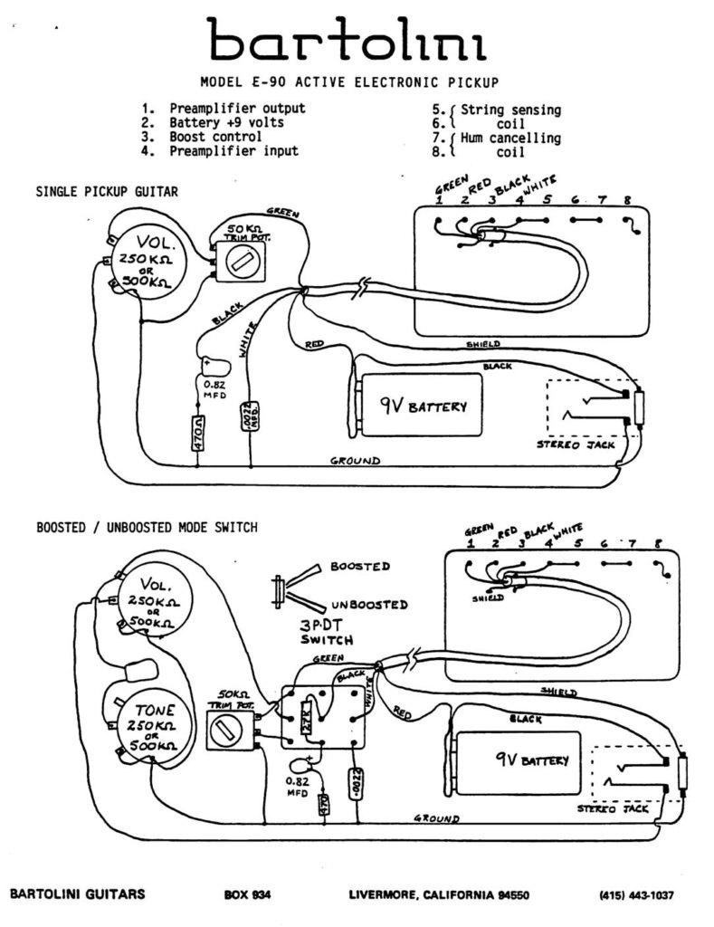 Wiring Diagrams Bartolini Pickups Electronics 4 Conductor Humbucker Diagram E90 Active